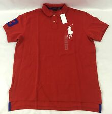 Ralph Lauren Men Custom Fit Polo Shirt Number 3 Oversized Logo Red Size S
