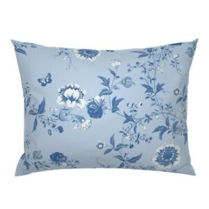 Chinoiserie Rococo French Asian Blue And White Flowers Pillow Sham by Roostery