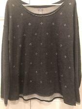 AERIE Womens Gray Rhinestone Embellished Long Sleeve Crewneck Sweatshirt XL