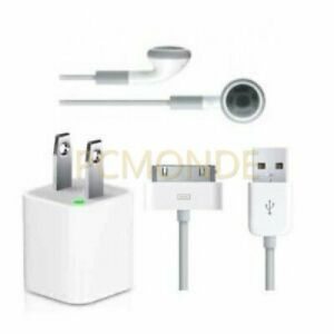 USB AC Power Adapter+Earphones+Sync Data/Charge Cable for Apple iPod/iPhone