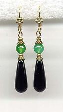 Earrings 14K Gold gp *Victorian Style Genuine Jade w Onyx Briolette Teardrop