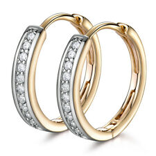 Luxury Silver & Gold Filled Diamond Clear Sapphire Inlay Ring Hoop Lady Earrings
