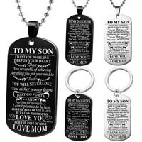 To My Son Daughter Dog Tags Necklace Love Gift Keychain Family Mom Dad Keychain