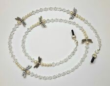 White Pearl Dragonfly Clear Austian Crystal Bead Mix Eyeglass Chain