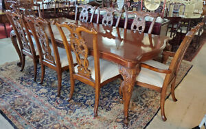 American Drew Chippendale Style Mahogany Dining Set w/ 8 Chairs, 9FT, PA5934RS