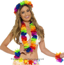 Hula Girl Set Lei Flowers Necklace Headband Bracelets Hawaiian Party Fancy Dress