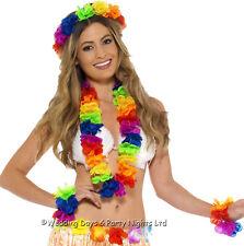 Rainbow Hawaiian Lei Wristband Headband Fancy Dress Accessory Set Smiffys 44592