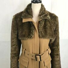 HAZEL ANTHROPOLOGIE Faux Fur Wool Blend Coat SZ M Belt Pockets Beige Brown