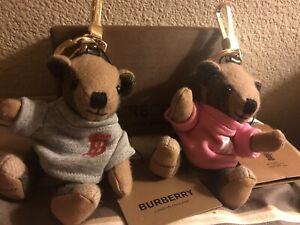 Lot Of 2 Burberry TB Bear Keychain Charms. 2 Burberry Box