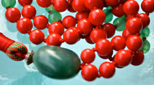 Red Coral & Jade Hand Knotted Mala Beads Buddhist Necklace - Karma, Nirvana, Med