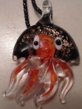 "Octopus Glass Necklace Hand Blown 2"" Whimsical Colorful Nautical Ocean Theme"