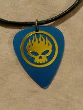 The Offspring Flaming Skull Blue Ibanez Guitar Pick Necklace - NEW -
