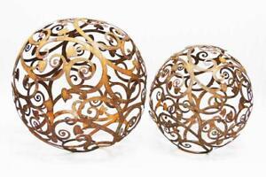 Kugel mit Barock Blatt Ornamenten zum Beleuchten 30 cm / 40 cm Edelrost Rost