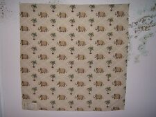 """Lee Jofa """"Pondicherry Weave"""" embroidered elephants fabric remnant color ivory"""