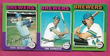 RARE 1975 OPC MILWAUKEE BREWERS  CARD LOT  (INV# J0358)