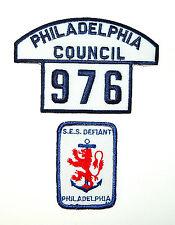 Sea Scouts BSA – 2 Vintage B/W Philadelphia Council Badges 1970/1980s – New
