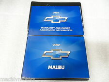 Chevrolet NEW Owner Manual Portfolio Malibu 2002
