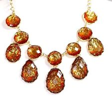 D16 Nacre Bronze Amber Gold Dangle Statement Necklace Earring Set