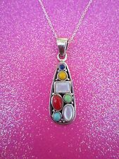 925 Sterling Silver Multi Stone Necklace