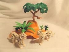 Playmobil RARE White Tiger Pair w Den, Tree for Zoo, Safari, Ark, Jungle Animals