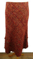 Per Una M&S Size 12 Red Orange Black Textured Wool Blend Skirt Midi Winter