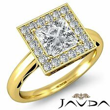 Princess Diamond Gia G Vs2 18k Yellow Gold Halo Pave Set Engagement Ring 1.86ct