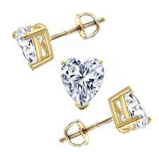 2 Ct Heart Cut Brilliant Stud Earrings In Solid 14K Yellow Gold Screw Back