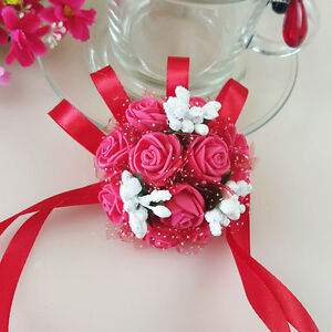 Bridal Bridesmaid Corsage Bracelet Pearl Hand Wrist Flower Wedding Party