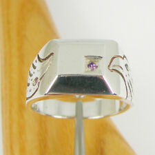 Eagle Bird Men Square Signet Amethyst Gemstone Ring Genuine 925 Sterling Silver