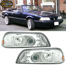 Fits 87 93 Ford Mustang Halo Projector Headlights Led Chrome Pair Fits Mustang