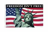 3x5 Freedom Isn't Free (USA) Poly Flag Banner Brass Grommets