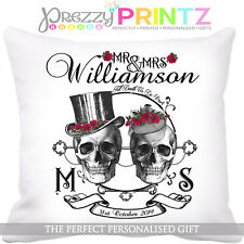 Personalised Wedding Gift SKULL GOTH Cushion Cover Halloween Anniversary Tattoo