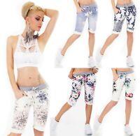 ITALY Damen Bermuda Shorts kurze Hose Capri Baggy Sweat JogPants Blumen Print