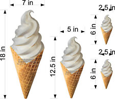 LOT OF 4 WAFFLE CONE SOFT SERVE ICE CREAM  DECALS  NEW GRAPHICS ASSORTED SIZES