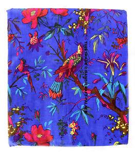 Indian Blue 10 Yard Hand Block Bird Print 100% Cotton Indian Dress Fabric Craft