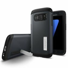 New OEM Spigen Slim Armor Metal Slate Case with Kickstand For Samsung Galaxy S7