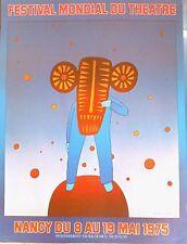 Jean-Michel Folon affiche offset Festival mondial du Théâtre Nancy 1975