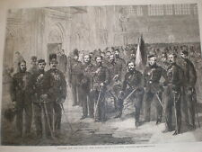 Officers and Privates London Rifle Volunteer Brigade 1861 old print & article