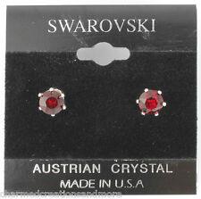 Genuine Swarovski Crystals 1 Carat 6mm Stud Earrings January Red Birthstone