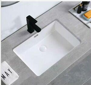 Undermount Ceramic Basin Cube Design 600wX360 mm Matte White Black Matte Pink