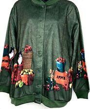 Blair Women Cardigan Sweatshirt Snap Button Cat Dog Apple Novelty Green L PT