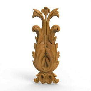 "Wood Carved Flower Baroque Applique Leaves Floral Ornament Center Piece 14.37"""