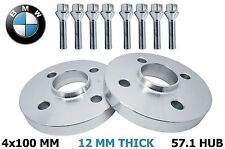 2 BMW 4x100 (12 MM Thick) 57.1 H.B Hub Centric Wheel Spacers 10 12x1.5 Lug Bolts