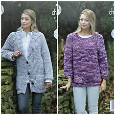 KNITTING PATTERN Ladies Long Sleeve Long Jacket & Jumper Tonal Chunky 4878