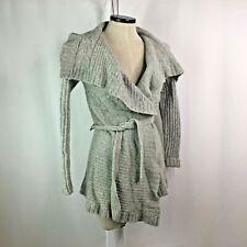 Chaiken and Capone Wrap Tie Cardigan Sweater Gray Wool Cashmere Small 4 6