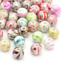 100 Acrylic Mixed Striped and Swirl Beads 8mm.