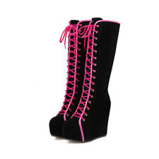 Fashion Ladies Knee High Boots Platform Hidden heel Wedge Heels Suede Lace Up