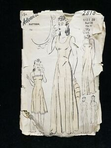 Vintage ORIGINAL Ladies Dress Pattern 1940s Era Bust 38 Full Slips Advance 2818