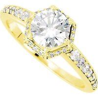 1.32 ct Halo Engagement Round Diamond 14k Yellow Gold Ring center diamond 1 ct