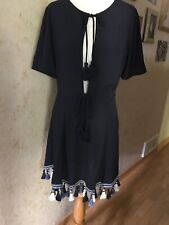 Tularosa Navy Blue Deep Front Tassels Dress Size M